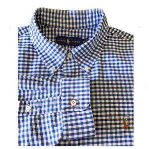 RALPH LAUREN Gingham Button Front Dress Shirt XL